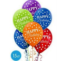 Bright Dot Happy Birthday 12 inch Latex Balloons (15 pack) - 110280