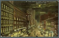 Kansas City Mo 1910s postcard Main Street night trolley cars Bowling Santa Fe
