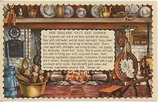 VINTAGE NEW ENGLAND SALT COD FISH DINNER RECIPE PRINT 1 TEA POT EGG KITCHEN CARD