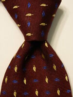 BATTISTONI Men's Silk Necktie ITALY Luxury Designer FLORAL Leaves Wine/Blue EUC