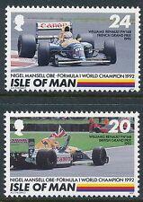 1992 GB ISLE OF MAN NIGEL MANSELL F1 WORLD CHAMPION SET OF 2 FINE MINT MNH/MUH