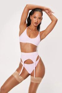 NASTY GAL SEAMLESS PINK 3-PIECE LINGERIE & SUSPENDER SET (SIZE L) BNWT *RRP £25*