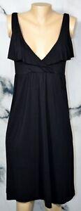 J. CREW Black Stretch Jersey Sleeveless Dress Small Flutter Lapels Knee Length