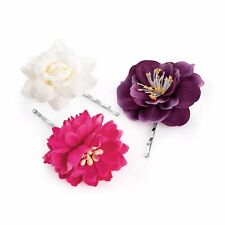 Set of 3 Pink Cream Purple Tone Flower Hair Grips Slides Clips Pins Accessories