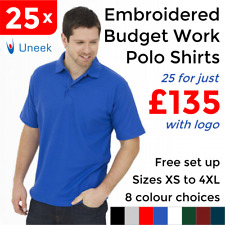 Custom Embroidered Poloshirts Personalised with Logo 25 Pack Wholesale S - 6XL