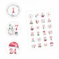 24 Adventskalender Zahlen Aufkleber Aquarell - rund 4 cm Ø - Sticker Weihnachten