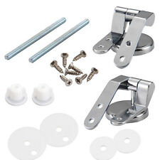 Replacement Chrome TOILET SEAT HINGE SET Pair with Fittings Universal New