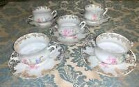 Antique O&EG Royal Austria Fine Bone China Teacup and Saucer (set of 5)