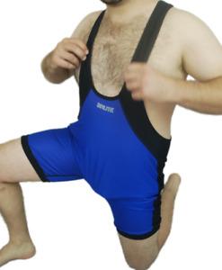 Mens BRUTE Wrestling Singlet Suit BLUE / RED Reversible Low Cut XXXL XXL XL