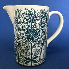Arabia Finland Vtg Pitcher 1960s Blue Floral Mid Century Flaw