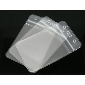 Clear Plastic  ZIPPER BADGE ID CARD HOLDER POUCH 11.7X6.5mm Vertical(B06296)