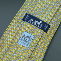 Hermes Paris Made In France Yellow Geometric Pattern Silk Tie 5578 MA