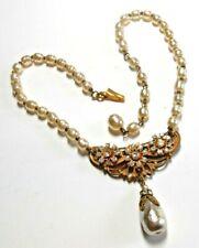 Miriam Haskell Imitation Baroque Pearl Necklace w/ Beautiful Center Drop c. 50