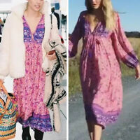 Plus Size Women V-neck Boho Hippie Loose Long Sleeve Casual Beach Maxi Dress