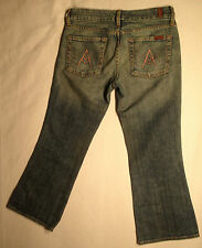 EUC - RRP $239- Womens 7 For All Mankind Cropped Capri Indigo Jeans Long Shorts