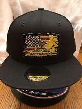 New Era NE400 Black Snapback Flat Bill Cap w/ Distressed American Flag Gadsden