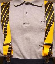 "Suspenders 2""x48"" FULLY Elastic Biker Car Truck Tire Treads yellow NEW"