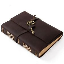 Ancicraft Leather Journal Diary With Vintage Key A5 Lined Craft Paper Brown Gift