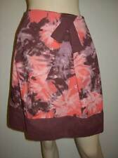 ELEVENSES Anthropologie 100% Cotton Pink Brown Watercolor Abstract Print Skirt 6