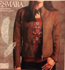 ESMARA BROWN ladies leather-effect biker jacket germany brand , quality size16