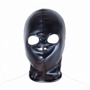 Faux Leather Full Head Eye Holes Exposed Zip Back Hood Size M