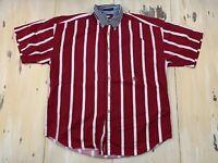 TOMMY HILFIGER - Vtg Red Striped Short Sleeve Button-Up Shirt, Mens MEDIUM
