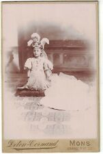 Cabinet Photo of Young Girl Kneeling with Feathers in Hair Fancy Dress - Belgium