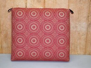 """Outdoor Patio Seat Pad ~ Red Gold Circles ~ 20"""" x 19"""" x 3.5"""" **NEW**"""