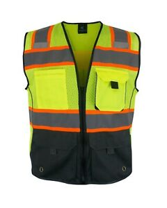 High Visibility Safety Vest Multi Pockets Yellow Black Class 2