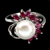 Marquise Red Ruby 4x2mm Pearl 14K White Gold Plate 925 Sterling Silver Ring