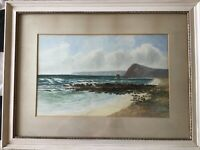 Early 20th century French original signed Watercolour Painting c 1914 seascape
