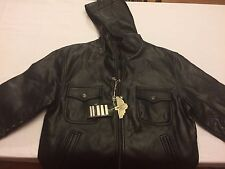 NWT NEW Men's Reportage R.G.A. L/XL Rare Hooded Jacket/Coat Faux Black Leather