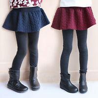Toddler Kids Girls Warm Winter Culottes Leggings Ruffle Tutu Skirt Pants Trouser