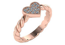 0.15 ct F VS natural round diamond heart fashion cocktail ring 18k rose gold 3mm