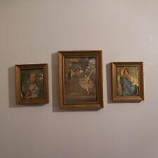 3 reproductions FERRUZZI Vierge et Enfant PERRONEAU Jeune fille au chat N3059