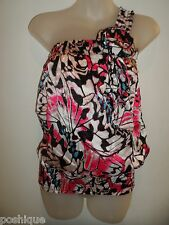 bebe S NWT 100% Silk One Shoulder Ruffle Monarch Butterfly Pink Black Spring
