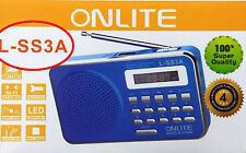 ONLITE SS3A Portable FM Transistor/Radio with USB/SD MP3 Player+DisplayAUX