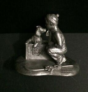 RARE Schmid Pewter Rockwell 1958 Four Season Winter A Boy Meets His Dog Figurine