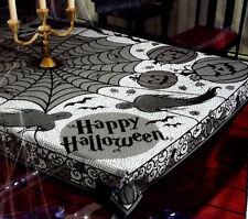 """Black Lace Halloween Tablecloth 60""""x 84"""" Ghouls Bats Webs Pumpkins Tablecloth"""