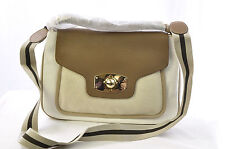 Furla Women's Leather Canvas Comfort Purse Shoulder Satchel Handbag, Ivory Brown