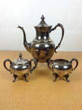 SHERIDAN Silver Plate on Copper 3 Pc Footed Tea Set Tea Pot Creamer Sugar Dish