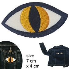 Cat eye patch- tabby yellow feline cats eyes iron-on embroidery heat patches