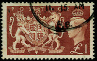 SG512 SPEC Q38a, £1 brown, FINE USED. Cat £50. RE-ENTRY IN 'DIEU'