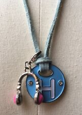 Funky H Initial Novelty Necklace/Enamelled/Headphones/Teen/Blue/Cord Chain