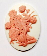 4 of 40x30 mm Pink over White Art Deco Fairy or Angel Kneeling in Flowers Cameos