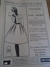"3144 ANCIEN PATRON"" ECHO DE LA MODE""  ROBE MANCHES 3/4    ANNEE 1961"