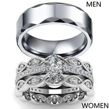 Couple Rings Cz Titanium Steel Mens Wedding Bands Womens 3pc Wedding Ring Sets