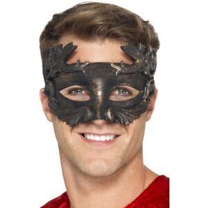 Romain Dieu Guerrier Masque Métallique Noir Hommes Accessoire Déguisement