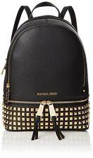 100% Black Leather Goldtone Studs Rhea Rucksack Backpack by Michael Kors. Small.