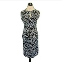 Apt 9  Dress Size M  Black White Abstract Sheath Keyhole Neckline Cap Sleeve NWT